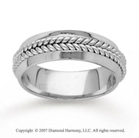 14k White Gold Braided Fashion Hand Carved Wedding Band