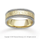 14k Two Tone Gold Harmony Hand Carved Wedding Band