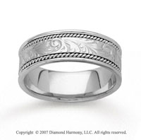14k White Gold Harmony Classic Hand Carved Wedding Band