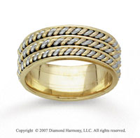 14k Two Tone Gold Elegant Rope Hand Carved Wedding Band