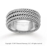 14k White Gold Elegant Rope Hand Carved Wedding Band