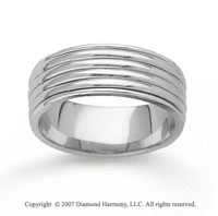 14k White Gold Forevermore Hand Carved Wedding Band