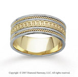 14k Two Tone Gold Rings Milgrain Hand Carved Wedding Band
