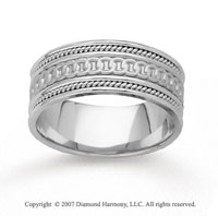 14k White Gold Rings Milgrain Hand Carved Wedding Band