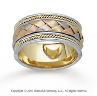 14k Tri Tone Gold Grand Weave Hand Carved Wedding Band