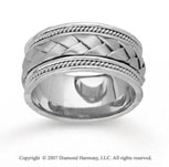 14k White Gold Grand Weave Hand Carved Wedding Band
