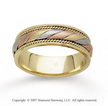 14k Tri Tone Gold Embrace Hand Carved Wedding Band
