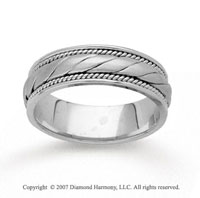14k White Gold Embrace Fashion Hand Carved Wedding Band