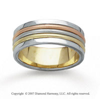 14k Tri Tone Gold Harmony Hand Carved Wedding Band