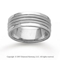 14k White Gold Stylish Harmony Hand Carved Wedding Band