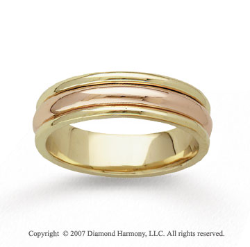 14k Two Tone Gold Perfect Harmony Hand Carved Wedding Band