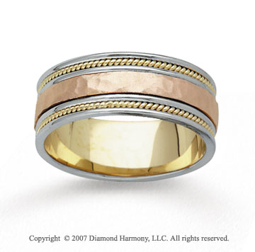 14k Tri Tone Gold Milgrain Hand Carved Wedding Band
