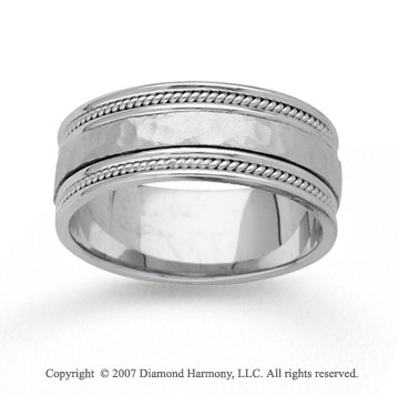 14k White Gold Grand Hammered Rope Wedding Band