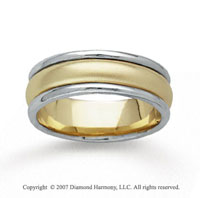 14k Two Tone Gold Refle Carations Hand Carved Wedding Band