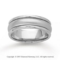 14k White Gold Refle Carations Hand Carved Wedding Band