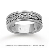 14k White Gold Stylish Woven Hand Carved Wedding Band