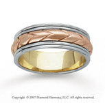 14k Tri Tone Gold Fine Elegant Hand Carved Wedding Band