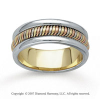 14k Tri Tone Gold Charming Hand Carved Wedding Band