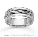 14k White Gold Charming Beauty Hand Carved Wedding Band