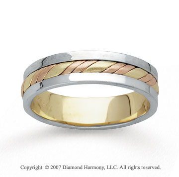 14k Tri Tone Gold Fine Twirl Hand Carved Wedding Band