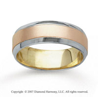 14k Tri Tone Gold Fine Harmony Hand Carved Wedding Band