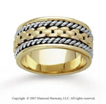 14k Two Tone Gold Deco Rope Hand Carved Wedding Band