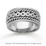 14k White Gold Fine Deco Rope Hand Carved Wedding Band