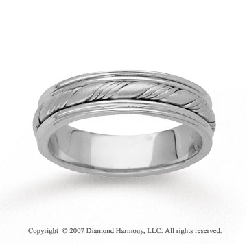 14k White Gold Fine Twist Hand Carved Wedding Band