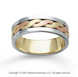 14k Tri Tone Gold Fashionable Hand Carved Wedding Band
