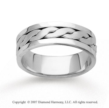14k White Gold Fashionable Hand Carved Wedding Band