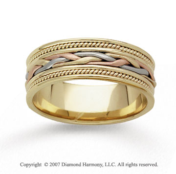 14k Tri Tone Gold Passion Hand Carved Wedding Band