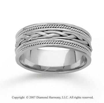 14k White Gold Elegant Passion Hand Carved Wedding Band