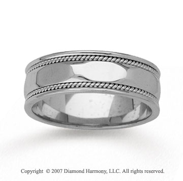 14k White Gold Sleek Milgrain Hand Carved Wedding Band