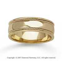 14k Yellow Gold Sleek Milgrain Hand Carved Wedding Band