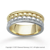 14k Two Tone Gold Elegant Fashion Hand Carved Wedding Band