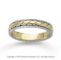 14k Two Tone Gold Stylish Rope Hand Carved Wedding Band