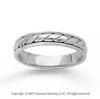 14k White Gold Stylish Rope Hand Carved Wedding Band