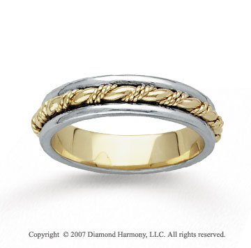 14k Two Tone Gold Grand Rope Hand Carved Wedding Band