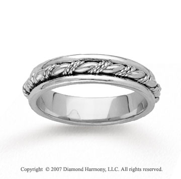 14k White Gold Grand Rope Hand Carved Wedding Band