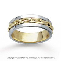 14k Two Tone Gold Stylish Tangle Hand Carved Wedding Band