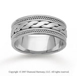 14k White Gold Elegant Milgrain Hand Carved Wedding Band