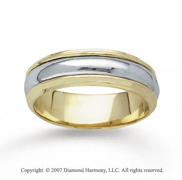 14k Two Tone Gold Brilliant Hand Carved Wedding Band