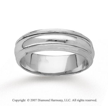 14k White Gold Fine Brilliance Hand Carved Wedding Band