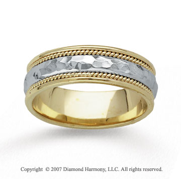 14k Two Tone Gold Hammered Rope Wedding Band