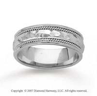 14k White Gold Hammered Rope Wedding Band