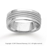 14k White Gold Everlasting Hand Carved Wedding Band