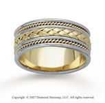 14k Two Tone Gold Rope Weave Hand Carved Wedding Band