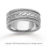 14k White Gold Milgrain Weave Hand Carved Wedding Band