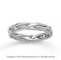 14k White Gold Stylish Tangle Hand Carved Wedding Band