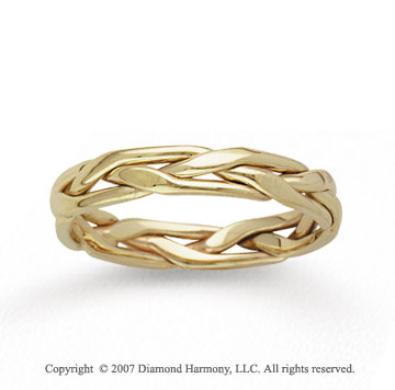 14k Yellow Gold Stylish Tangle Hand Carved Wedding Band